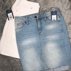 two denim skirts
